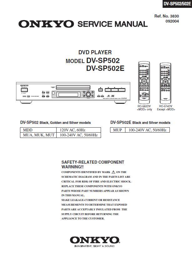 Onkyo DV-SP502 Service Manual