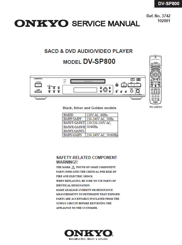 Onkyo DV-SP800 Service Manual
