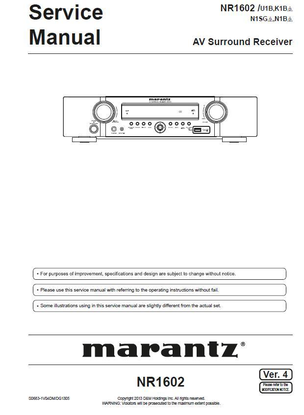 Marantz NR1602 Service Manual