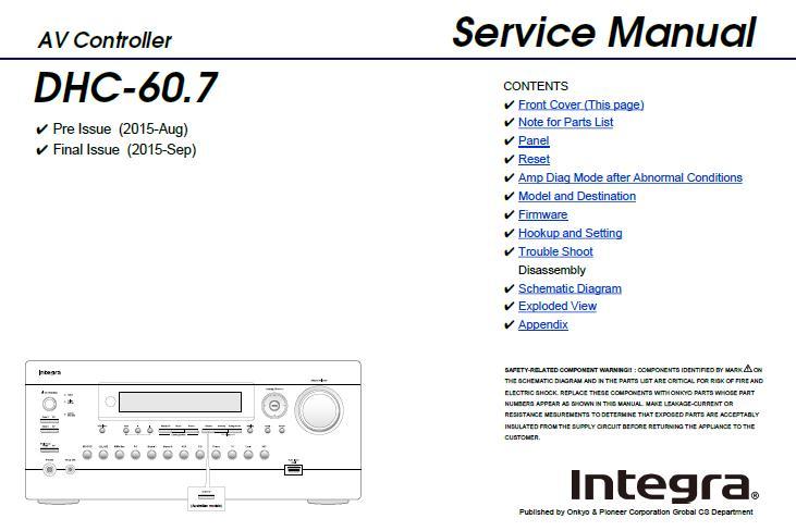 Integra DHC-60.7 Service Manual