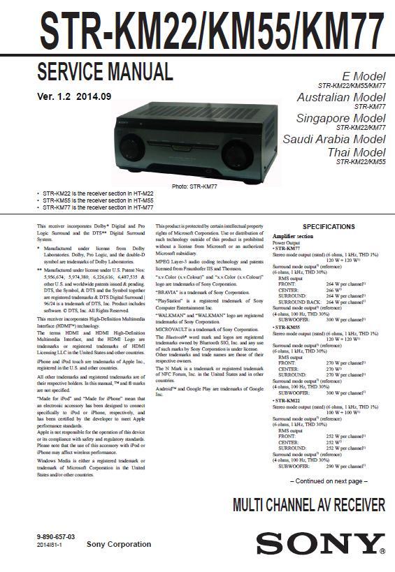 Sony STR-KM22/KM55/KM77 Service Manual