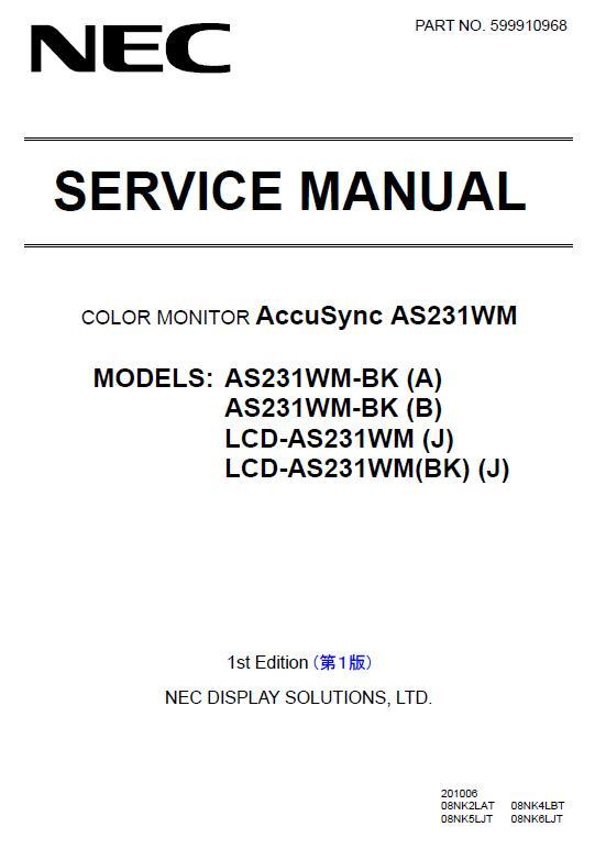 NEC AccuSync AS231WM Service Manual