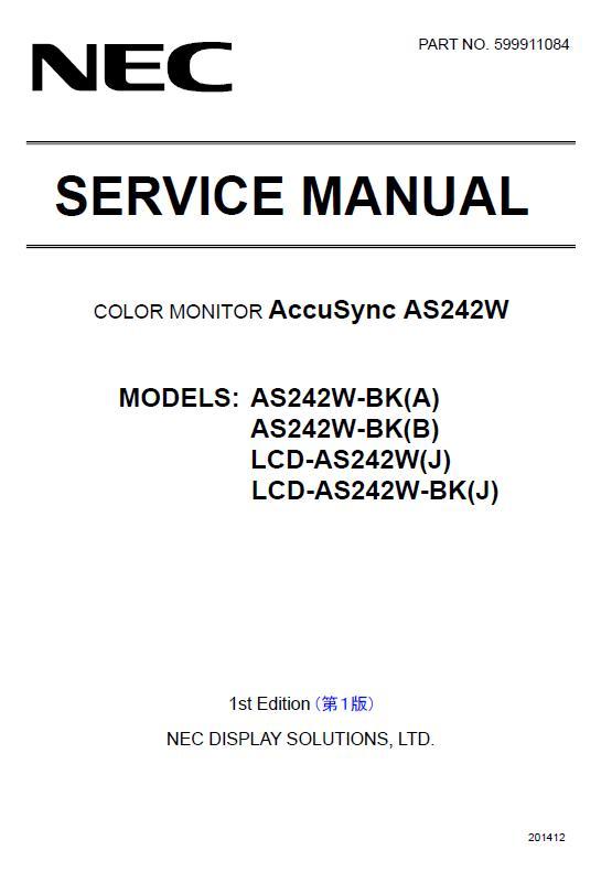 NEC AccuSync AS242W Service Manual