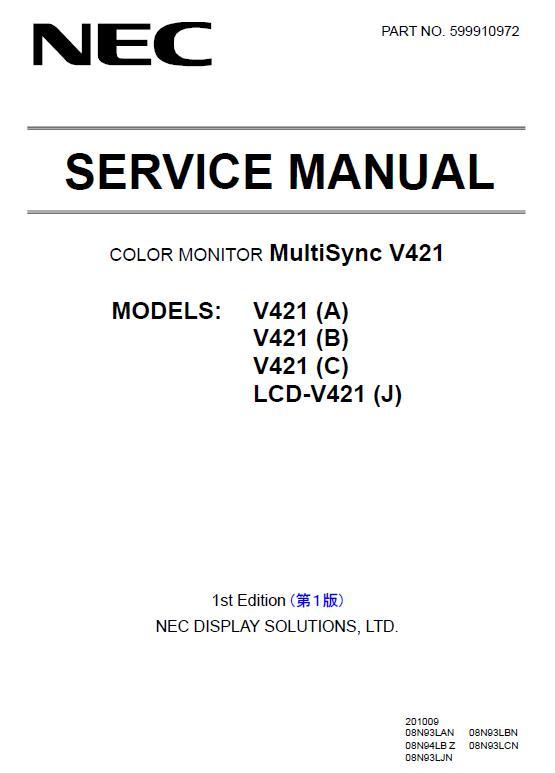 NEC MultiSync V421 Service Manual