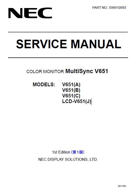 NEC MultiSync V651 Service Manual