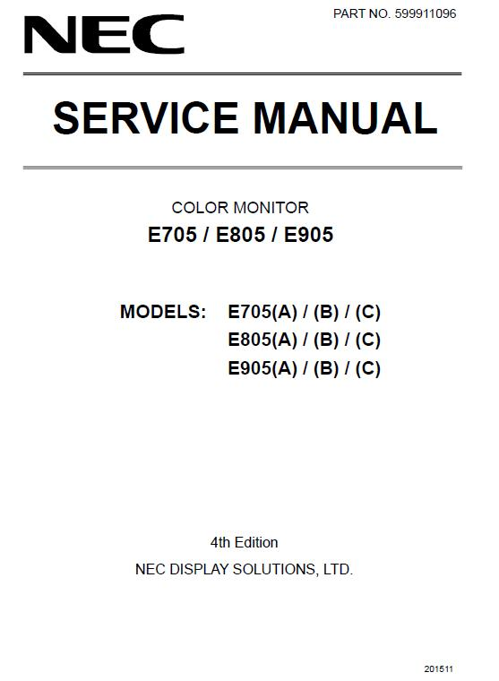 NEC E705/E805/E905 Service Manual