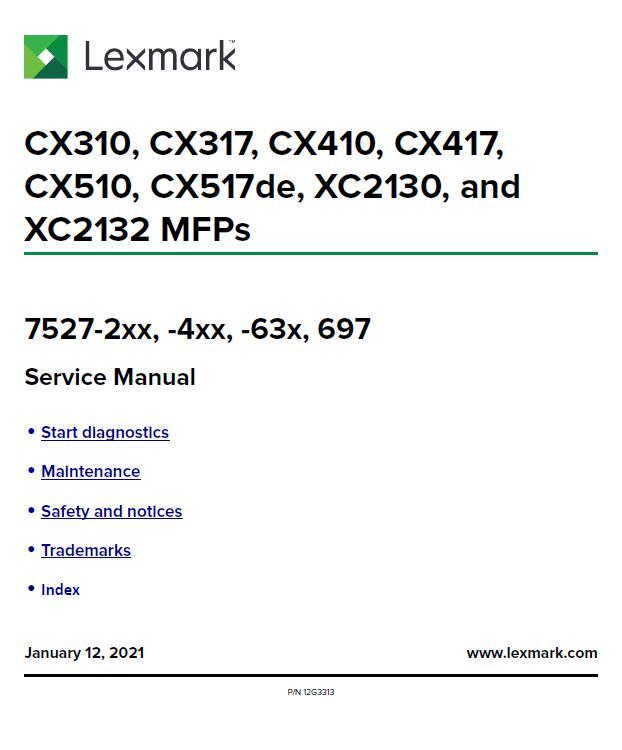 Lexmark CX310/CX317/CX410/CX417/CX510/CX517de/XC2130/XC2132 MFPs Service Manual