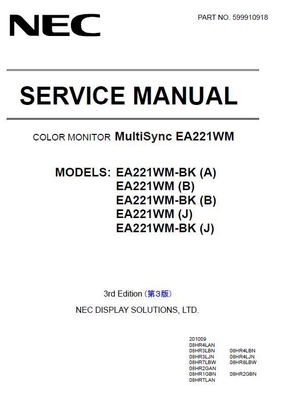 NEC MultiSync EA221WM Service Manual