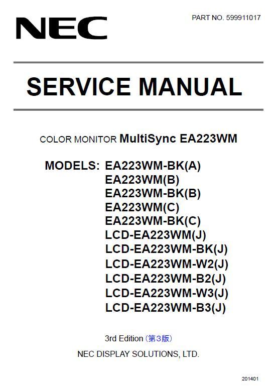 NEC MultiSync EA223WM Service Manual