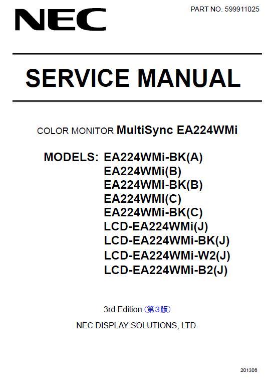 NEC MultiSync EA224WMi Service Manual
