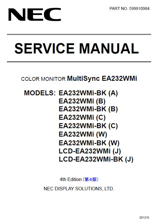 NEC MultiSync EA232WMi Service Manual