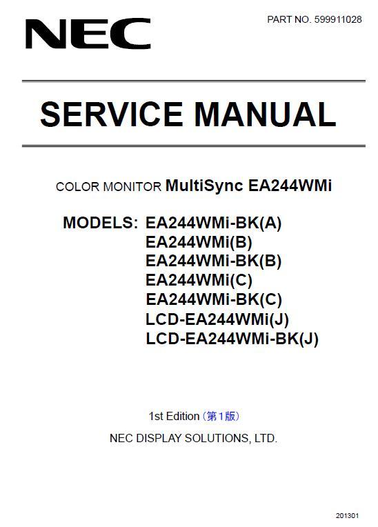NEC MultiSync EA244WMi Service Manual