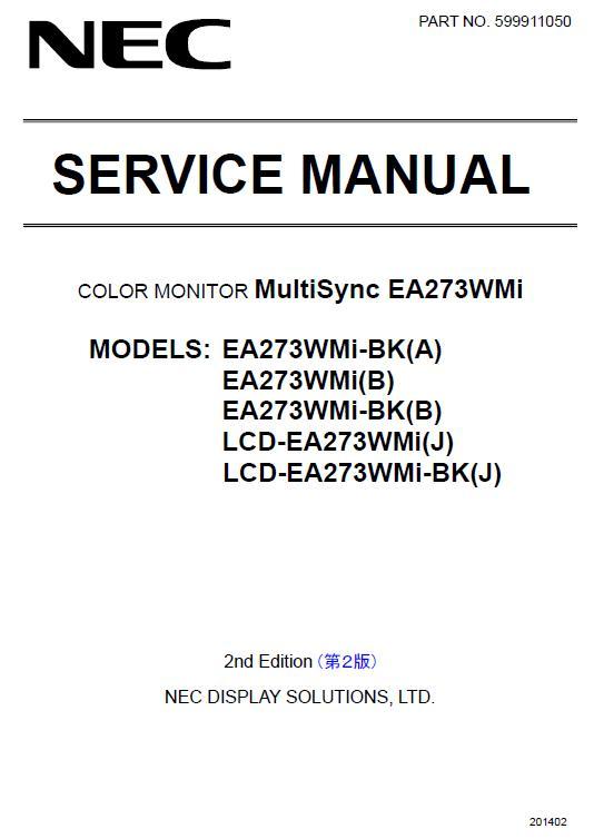 NEC MultiSync EA273WMi Service Manual