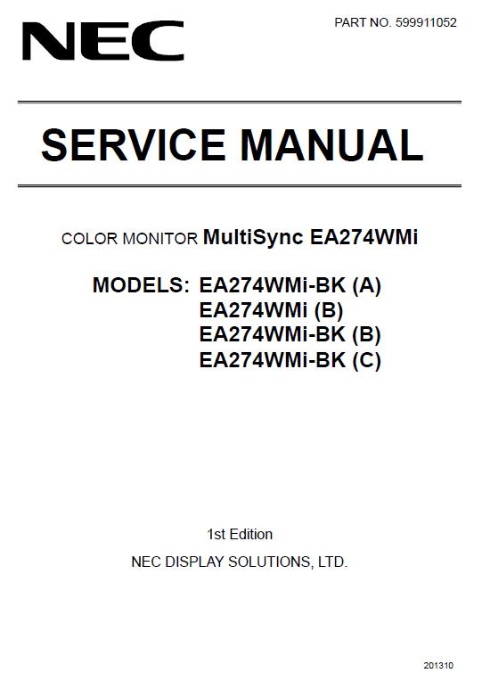 NEC MultiSync EA274WMi Service Manual