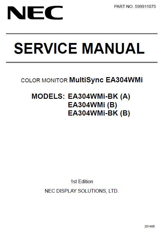 NEC MultiSync EA304WMi Service Manual