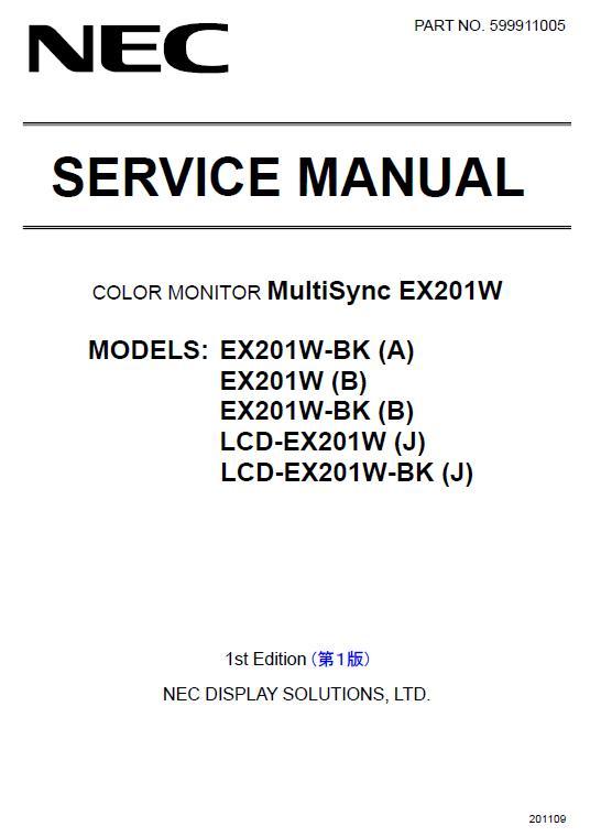 NEC MultiSync EX201W Service Manual