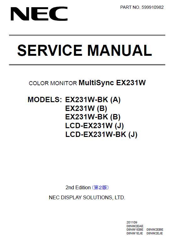 NEC MultiSync EX231W Service Manual