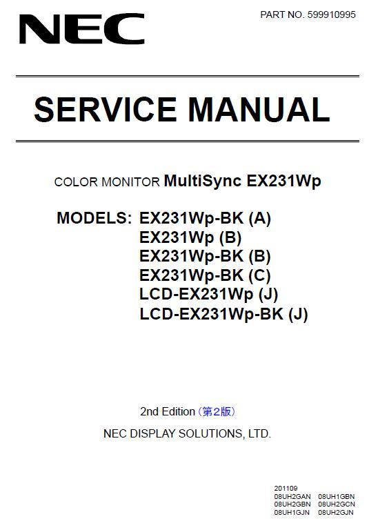 NEC MultiSync EX231Wp Service Manual