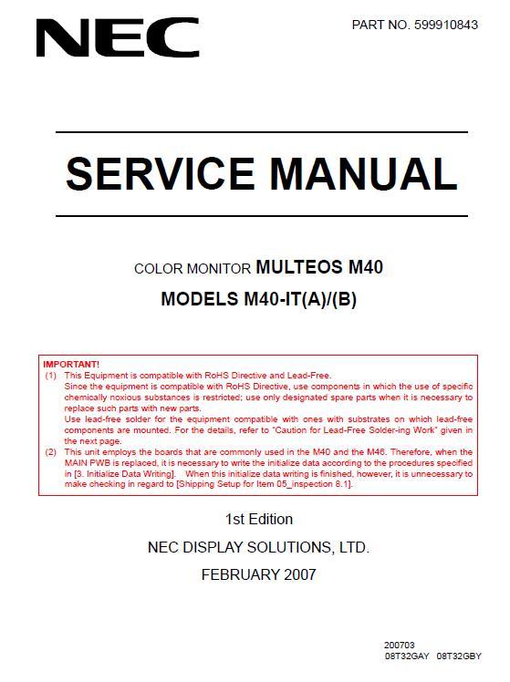 NEC MULTEOS M40 Service Manual