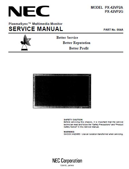 NEC PX-42VP2A/PX-42VP2G Service Manual