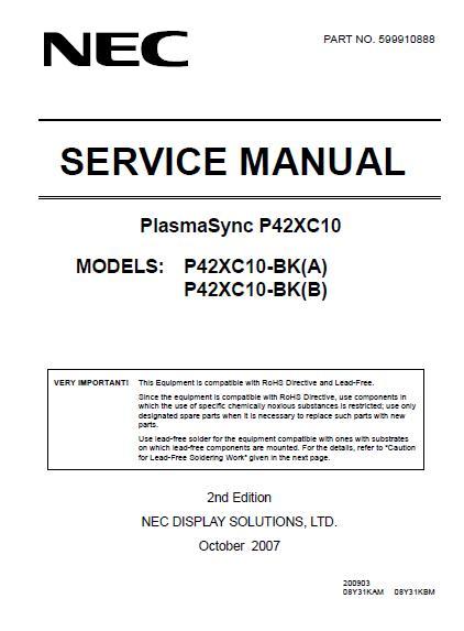 NEC PlasmaSync P42XC10 Service Manual
