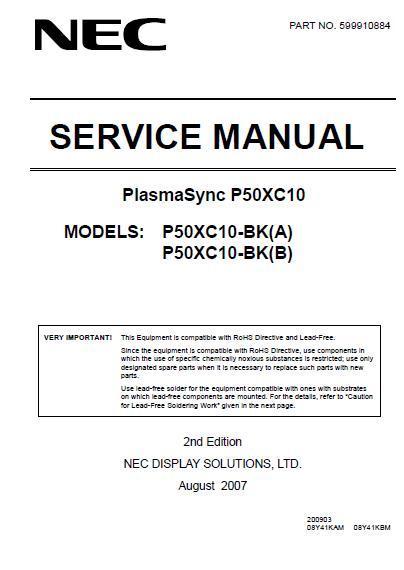NEC PlasmaSync P50XC10 Service Manual