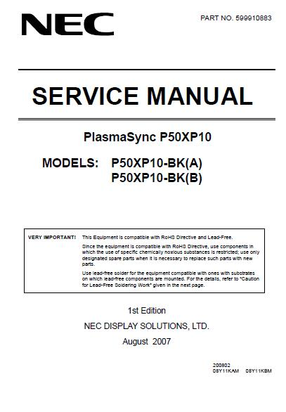 NEC PlasmaSync P50XP10 Service Manual