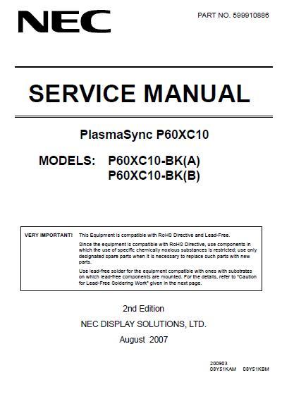 NEC PlasmaSync P60XC10 Service Manual