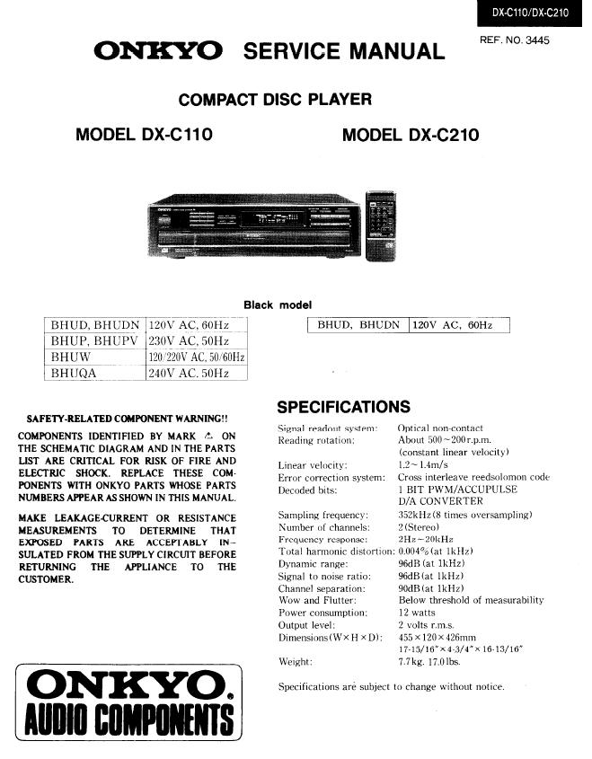 Onkyo DX-C110/DX-C210 Service Manual