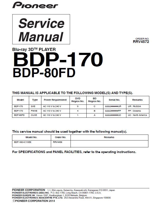 Pioneer BDP-160/BDP-170/BDP-80FD Service Manual