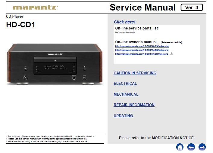 Marantz HD-CD1 Service Manual