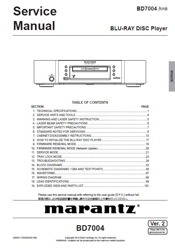Marantz BD7004 Service Manual