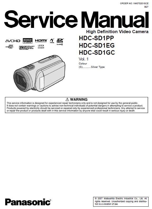 Panasonic HDC-SD1 series  Service Manual