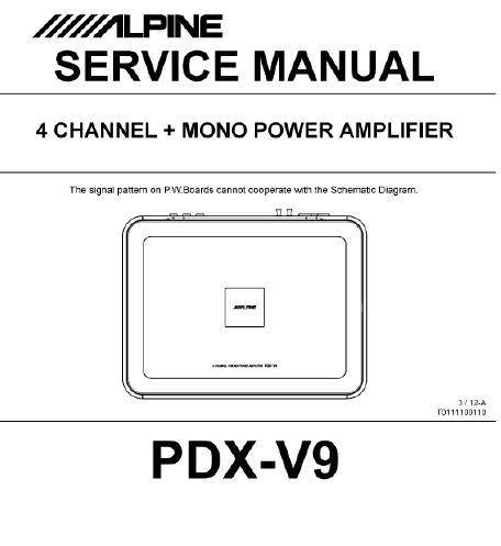 Alpine PDX-V9 Service Manual