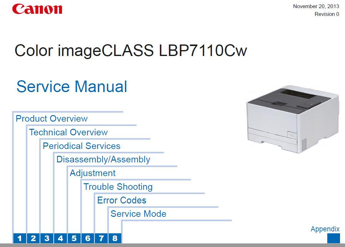 Canon Color Imageclass Lbp7100cn  7100c  7110c  7110cw Service Manual    Canon Printers