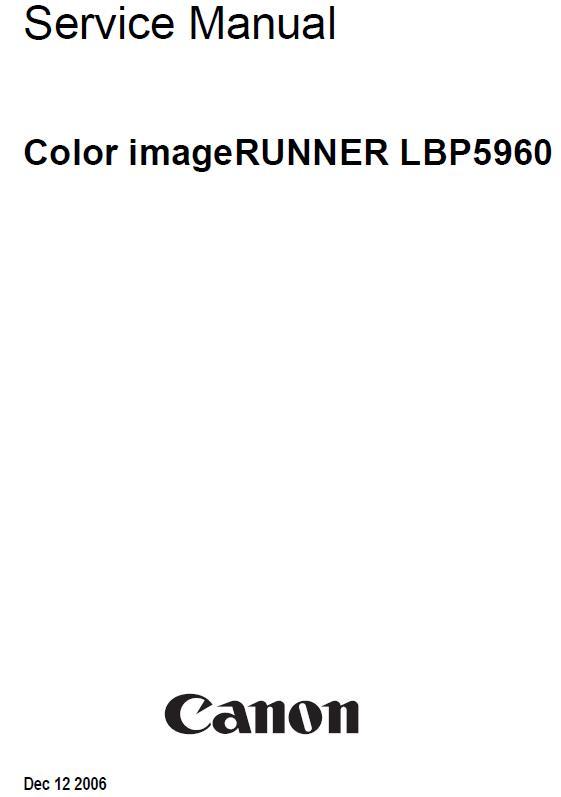 Canon Color imageRUNNER LBP5960 Service Manual