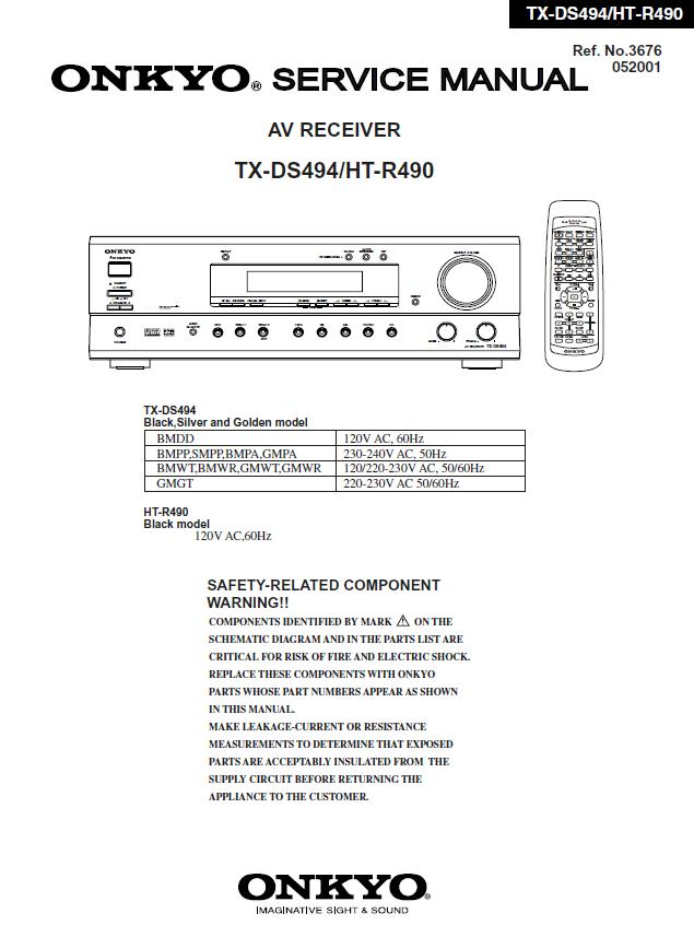 Onkyo HT-R490/TX-DS494 Service Manual