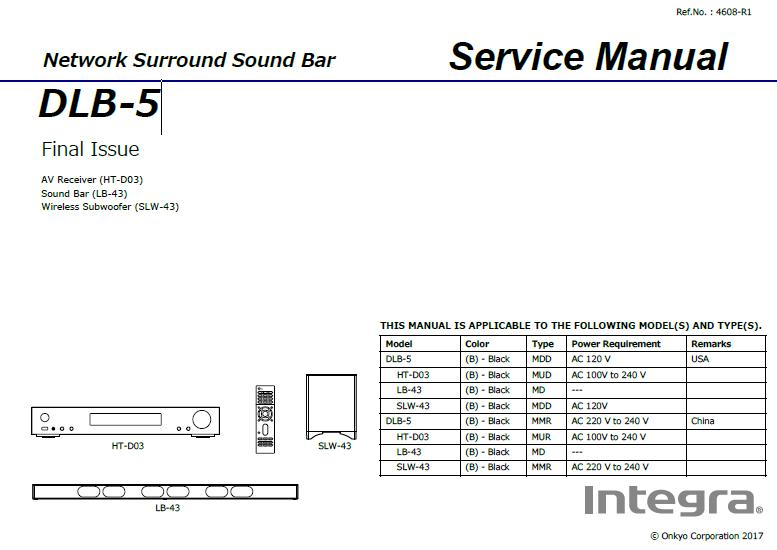 Integra DLB-5 Service Manual