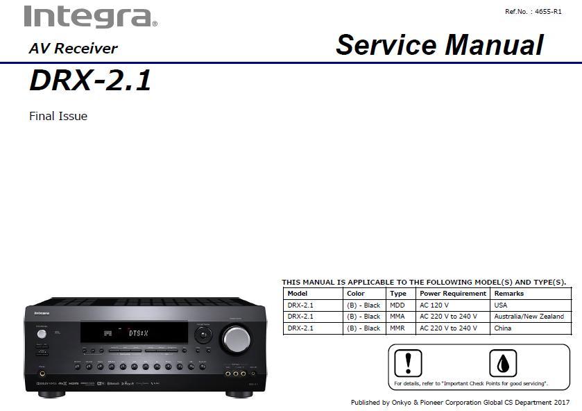 Integra DRX-2.1 Service Manual