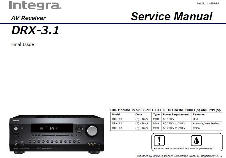 Integra DRX-3.1 Service Manual