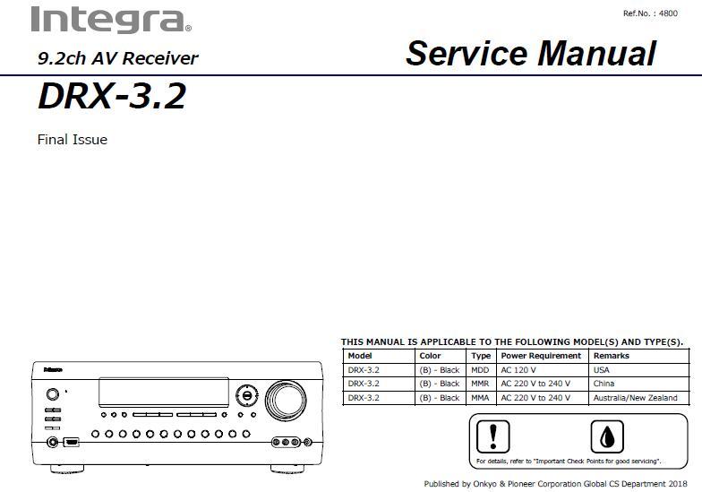 Integra DRX-3.2 Service Manual