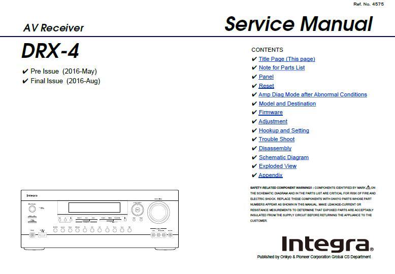 Integra DRX-4 Service Manual