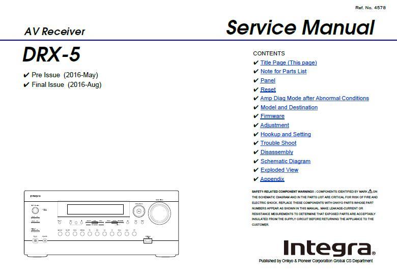Integra DRX-5 Service Manual