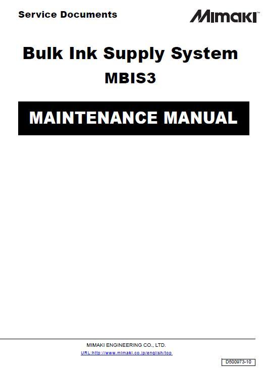 Mimaki Bulk Ink Supply System MBIS3 Maintenance Manual