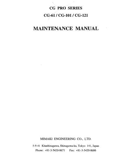 Mimaki CG-61/CG-101/CG-121 Maintenance Manual