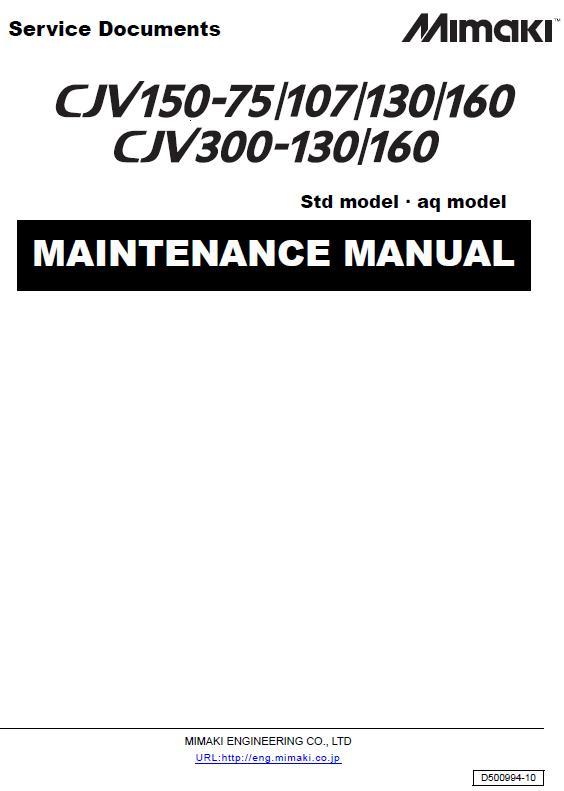Mimaki CJV150-75-107-130-160/CJV300-130-160 Maintenance Manual