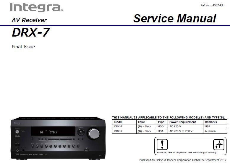 Integra DRX-7 Service Manual