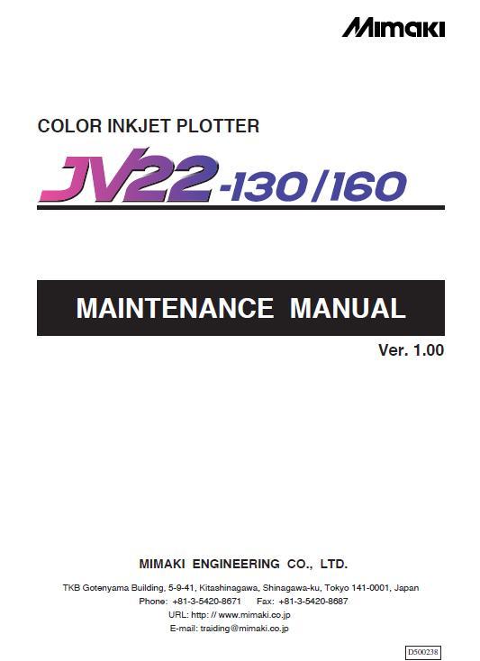 Mimaki JV22-130/Mimaki JV22-160 Service Manual