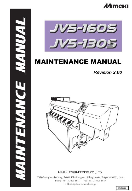 Mimaki JV5-130S/Mimaki JV5-160S Service Manual