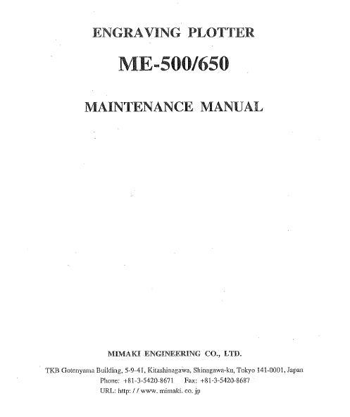 Mimaki ME-500/ME-650 Maintenance Manual